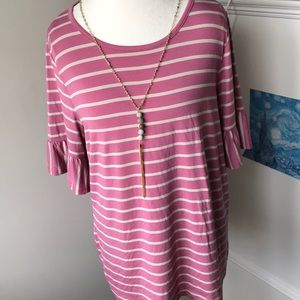 Philosophy NWT XL rose/smoke pearl striped tunic